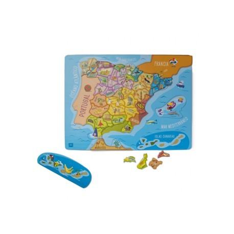 Mapa España magnético de madera
