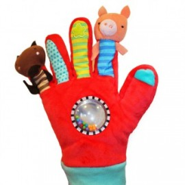Guante con marionetas de dedo rojo, EurekaKids
