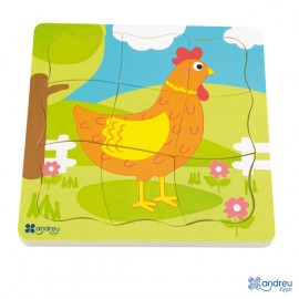 Puzle huevo - gallina, Andreu Toys